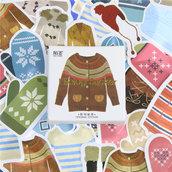 """LOTTO 45 stickers adesivi in carta """"Abbigliamento invernale"""" (4x4cm circa)"""