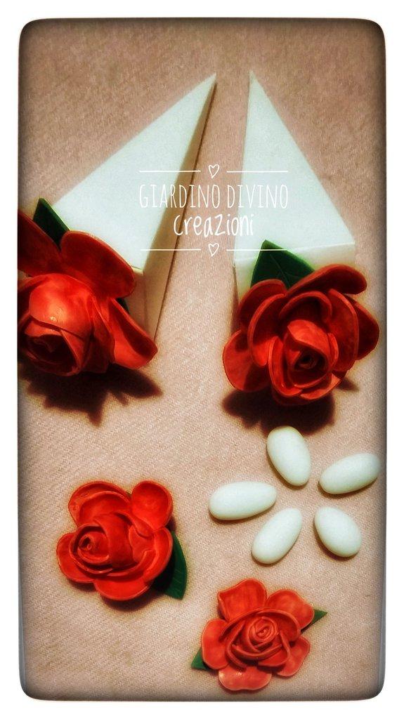 Scatolina portaconfetti con rosa in fommy