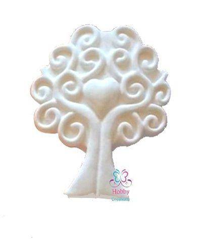 Gessetti colore bianco profumati a forma di ALBERO DELLA VITA con base per bomboniera Cresima, Battesimo, Comunione, Matrimonio, Natale - Idea Regalo