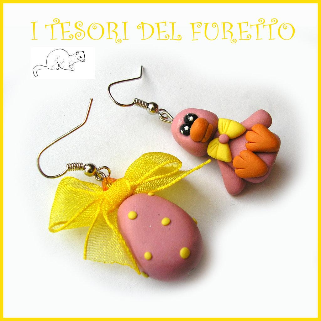 """Orecchini Pasqua """" paperella e ovetto rosa """" fimo kawaii idea regalo bambina pasquali bijoux uovo cioccolato clip"""