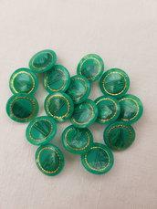 Bottoni vintage verde brillante e oro16 pezzi,bottoni con gambo eleganti,1,5 cm materiali