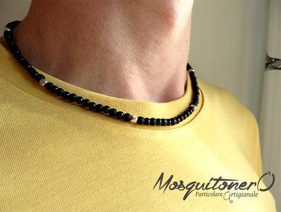 Collana da uomo con perle in pietra Onice nero opaco e lucido