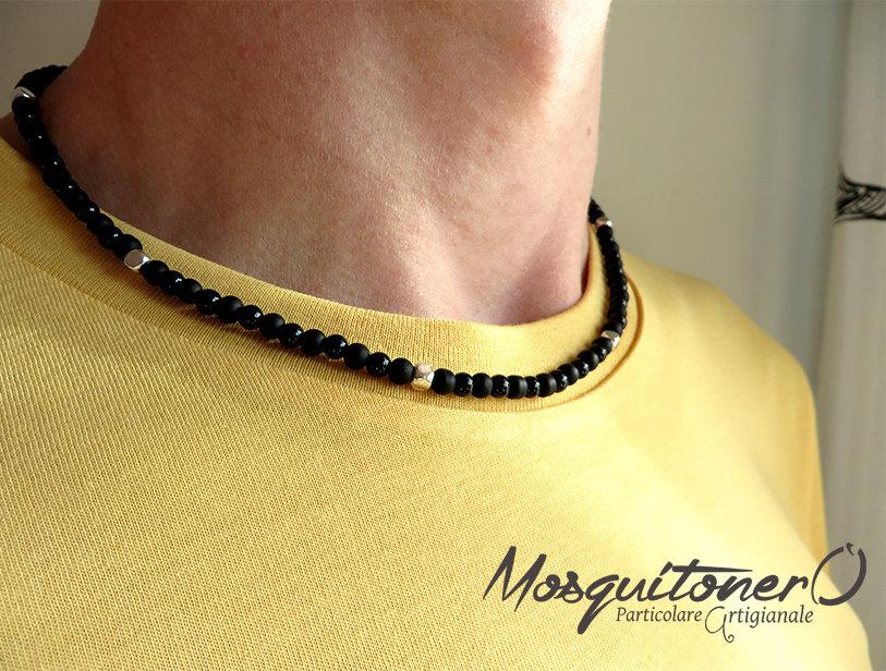 Collana uomo girocollo perline in pietre dure Onice nero opaco e lucido,stile minimal semplice zen collana