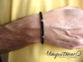 Bracciale da uomo con perle in pietra Onice nero opaco e lucido