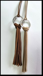 Long necklaces tassel brown in leather (2)
