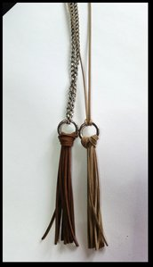 Long necklaces silver tassel brown in leather (2)
