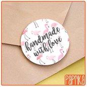 """Etichette """"Handmade With Love + Fenicotteri"""" 4cm E003"""