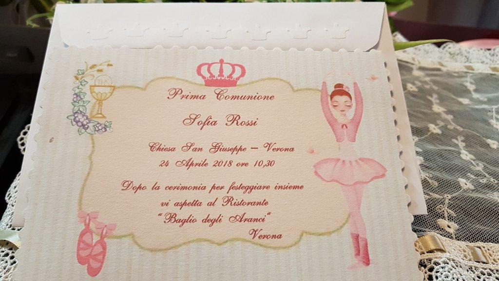 Invito Prima Comunione Ballerina