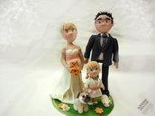 cake topper personalizzato sposi con animali da compagnia