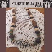 collana perle di legno e pietre  dure