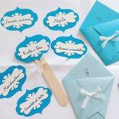 Kit confettata battesimo 30 coni porta confetti e 6 palette gusti confetti