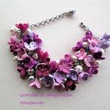 Bracciale fimo fiori di lilla'