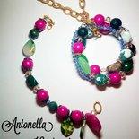 Parure bracciale e collana multicolore
