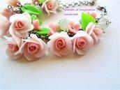 Braccialetto roselline in cernit e agata bianca