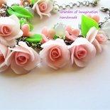 Bracciale in cernit con rose e agata bianca