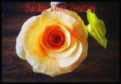 Rosa del deserto.Fiore di carta, raso e legno