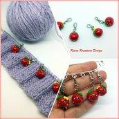 Segnapunto ciliegie kawaii, in fimo, regalo donna, regalo per chi fa la maglia, charms ciliegie kawaii, regalo kawaii, regalo vegetariana
