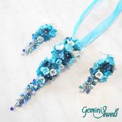 Parure collana e orecchini fiori in fimo blu e azzurro