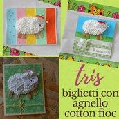 Tris di biglietti con agnello di cotton fioc • Biglietti di Pasqua