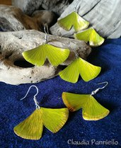 foglie di Ginkgo, orecchini fatti a mano in alluminio