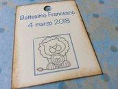 Tag battesimo bambino rettangolari con leoni e scritta blu