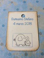 Tag battesimo bambino rettangolari con elefantino e scritta blu