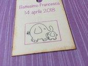 Bigliettini battesimo bambina rettangolari con elefantino e scritta viola