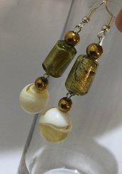 Orecchini unici in vetro Murano Foglia argentata-dorato