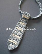 Cravattino neonato/cravatta bambino - cotone a righe - fatta a mano uncinetto - idea regalo!