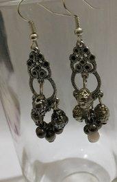 Orecchini pendenti Argento tibetano perline