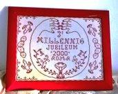 Quadro commemorativo 3° millennio decorazione originale a punto croce rosso bordò su tela aida