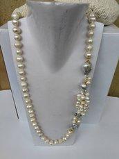 Collana perle naturali Collana lunga perle barocche argento placcato oro