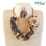 Parure collana e orecchini, fiori in fimo e perle