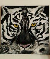 Tigre Bianca quadro dipinto a olio su tela
