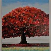 """Albero Rosso"" dipinto a olio su tela"