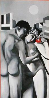 """""""Gli Amanti"""" dipinto ad olio su tela"""