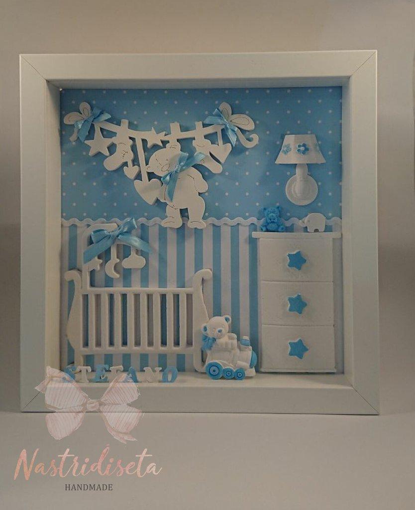 Quadretto nascita con dettagli in polvere di ceramica