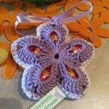 Fiore porta ovetti Pasqua uncinetto cotone decorazione casa fatto a mano