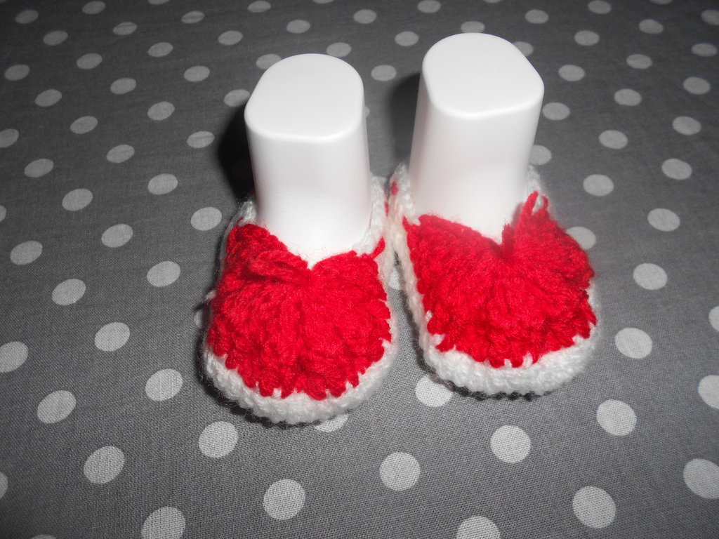 Scarpette  natalizie - scarpine bebe' - scarpe fatte a mano - Natale!