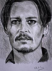 Ritratto Johnny Depp matita su cartoncino disegnato a mano