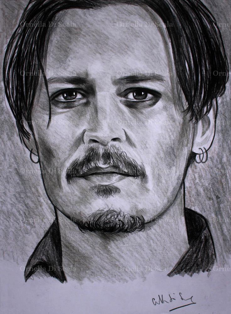 Ritratto Johnny Depp matita su cartoncino disegnato a mano ...