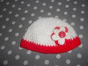 Cappello handmade - cappello bianco-rosso fatto a mano -