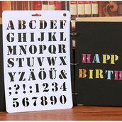 """Stancil """"Lettere&Numeri"""" (20.7x30.7 cm) (cod.ilnero)"""