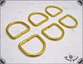Anelli D, molto spessi, spazio interno mm.30 colore oro, 6 pezzi