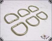 Anelli D, molto spessi, spazio interno mm.30 colore argento, 6 pezzi
