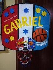 targa - fuori porta per cameretta per bambini modello sport - basket