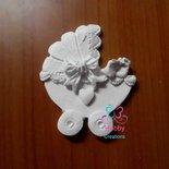 Gessetti artigianali a forma di  CARROZZINA CON PIEDINI  6 x 5 cm per  Bomboniera Compleanno, Nascita, Segnaposto, battesimo, anniversario