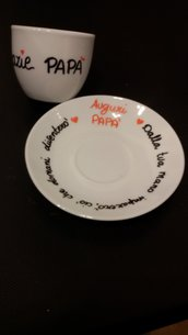 "tazzina da caffè con piattino scritta  ""grazie papà"""