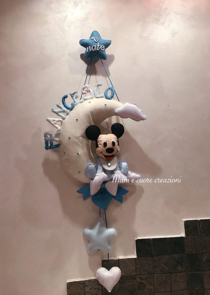 Fiocco nascita Topolino sulla luna - Mickey mouse - personalizzato