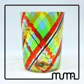 Bicchiere in Vetro di Murano. Colori minerali. Fatto a mano in fornace veneziana. 100% Made in Italy